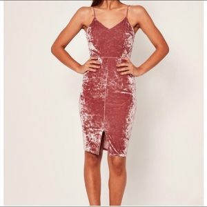 Missguided Crushed Velvet Strappy Midi Dress Pink